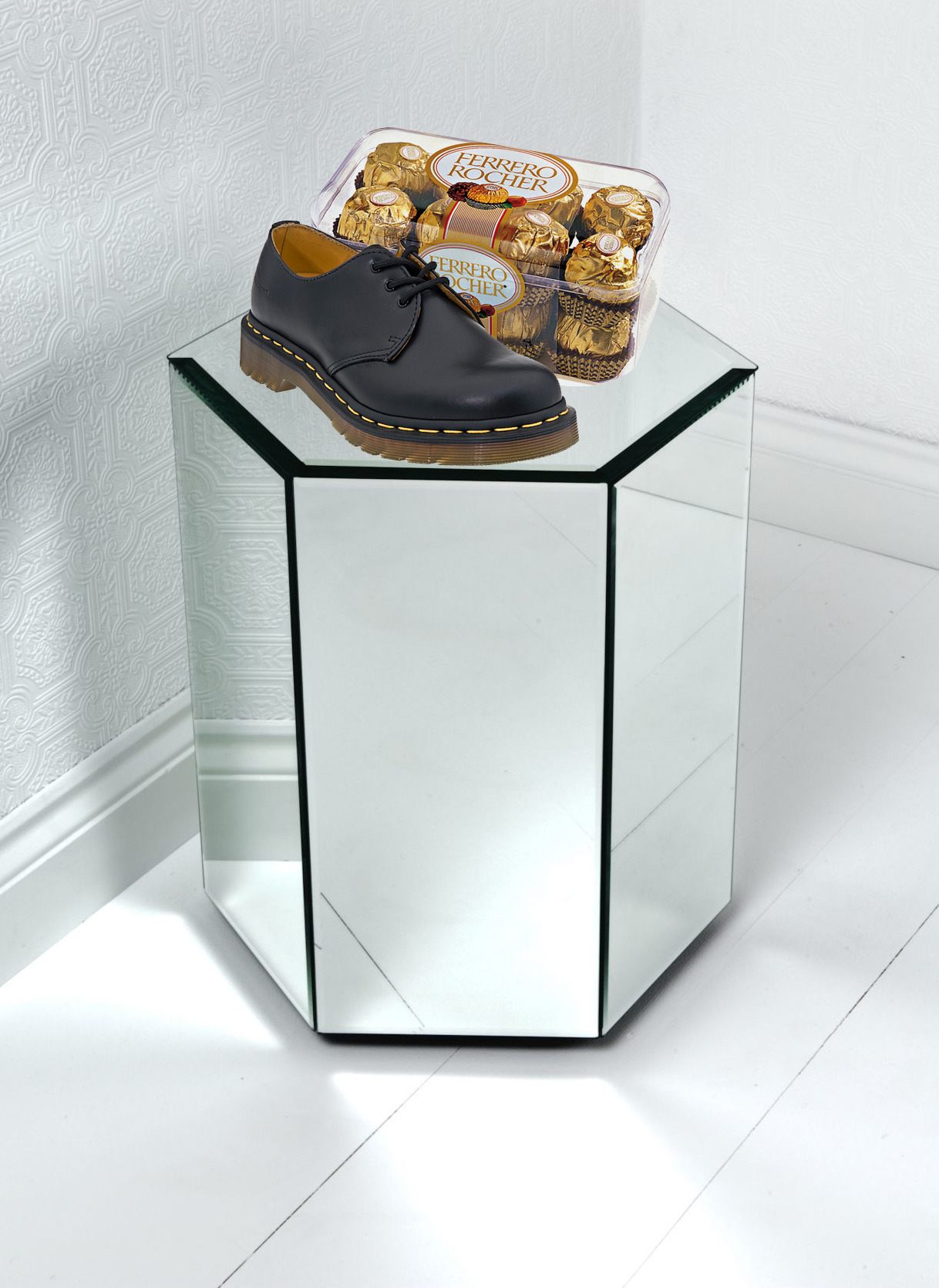 FERRERO ROCHER AND DR MARTENS ON GLASS PEDESTAL, 2012 Sculpture @