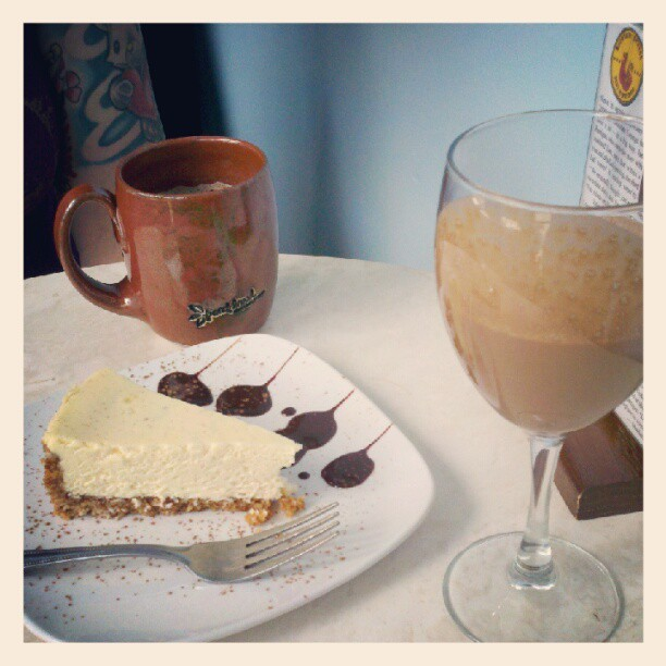 Vanilla sipping chocolate, vanilla bean cheesecake, and maple sea salt hot chocolate. This is gonna take awhile to recover from.  (Taken with Instagram at French Broad Chocolate Lounge)