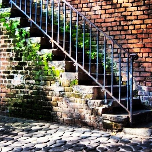 A week from today I get to descend these stairs to River Street & enjoy vacation with one of my besties! Even stairs are prettier in #savannah #georgia :)  (Taken with Instagram)