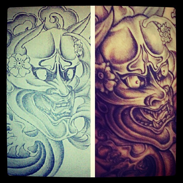 Before and after @maneatracktion #tattoo #japanese #hannya  (Taken with Instagram)