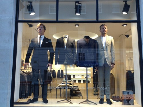 Benedict and Nick Hart pretending to be mannequins in the Spencer Hart window today. The things he does when he's bored. From the Spencer Hart Twitter feed.