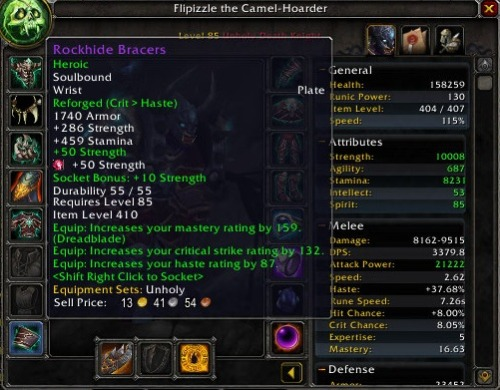 At last, Rockhide BracersAfter almost 5 months of 1-3 Heroic Morchok kills a week I finally got heroic Rockhide Bracers. Even overall for the guild this is only the second time it's dropped in a guild run considering we run 3 raids a week (down to 1-2 though since D3 came out though).I have been know to have terrible luck with getting loot from the first bosses. It took Shannox 7 months to drop an axe for me and I went into DS with the 365 crafted sword (Rag has never dropped that 2h hammer in any of our guild runs, even during patch 4.3).