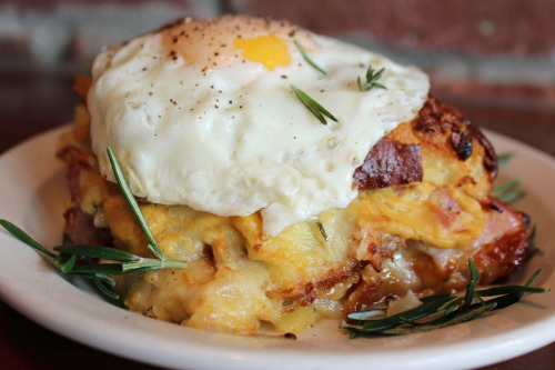 "f-word:  croque madame ""bread pudding"" made with black forest ham, gruyere, fontina, dijon mustard and a fried egg photo by a * b"