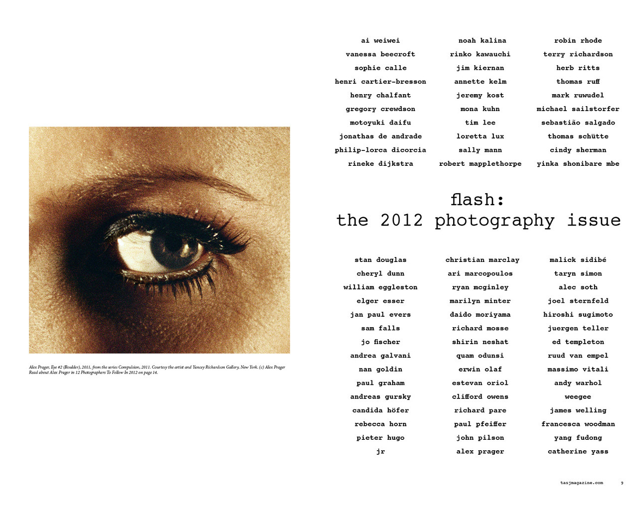 List of artists featured in tasj flash: the 2012 photography issue!