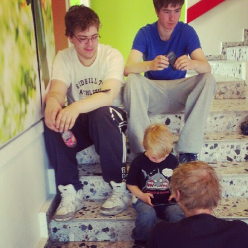 #cool #guys #chilling and #gaming on the #phone in the #stairs. #boy #boys #man #men #child #children #game #igaddict #ig #iger #igers #instamood #insta #instagood  (Taken with Instagram)