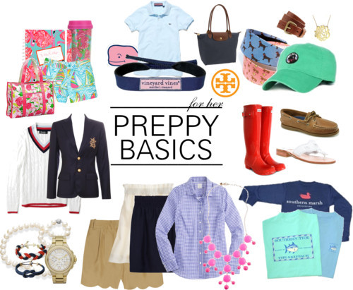 prepclass101:  Lesson 4: Just a few typical things you can spot in preppy wardrobes. Tons of Lilly Pulitzer, Vineyard Vines, a Longchamp bag, Tory Burch accessories, Brooks Brothers, Ralph Lauren, pearls, a timeless watch, Kiel James Patrick bracelets, J Crew, Southern Marsh/Tide/Proper brands, Hunter rain boots, Sperry Topsiders, and Jack Rogers.   THIS IS PERFECTION!!