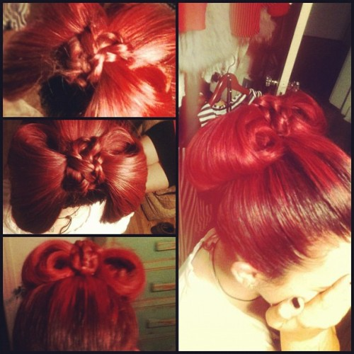 Beau did a bow on my hair last night. (Taken with Instagram)