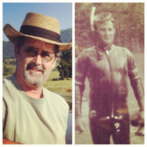 Dad a few weeks ago and grand-pa  in the late 60's. Outdoorsmen across two generations. Happy Fathers Day.