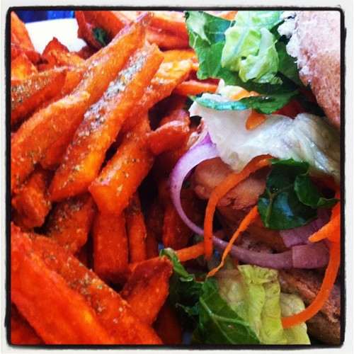 "A quick bite…""chicken"" sandwich & sweet potato fries #foodie  (Taken with Instagram at Native Foods Cafe)"