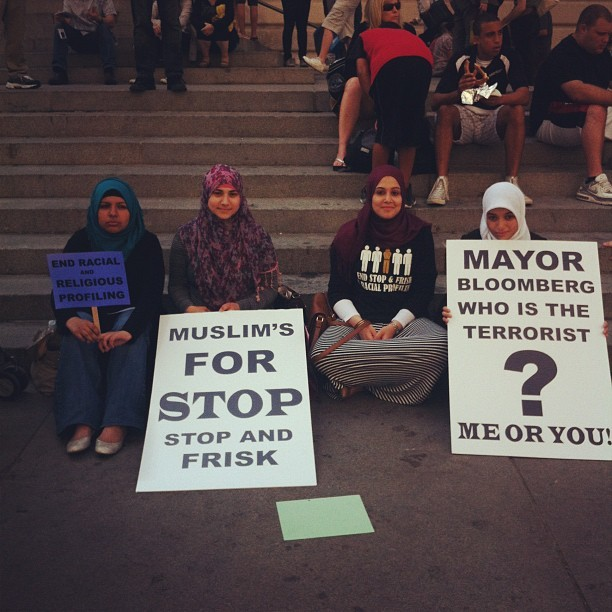 the lovely women of @cair_ny holding it down! #silentmarchnyc  (Taken with Instagram)