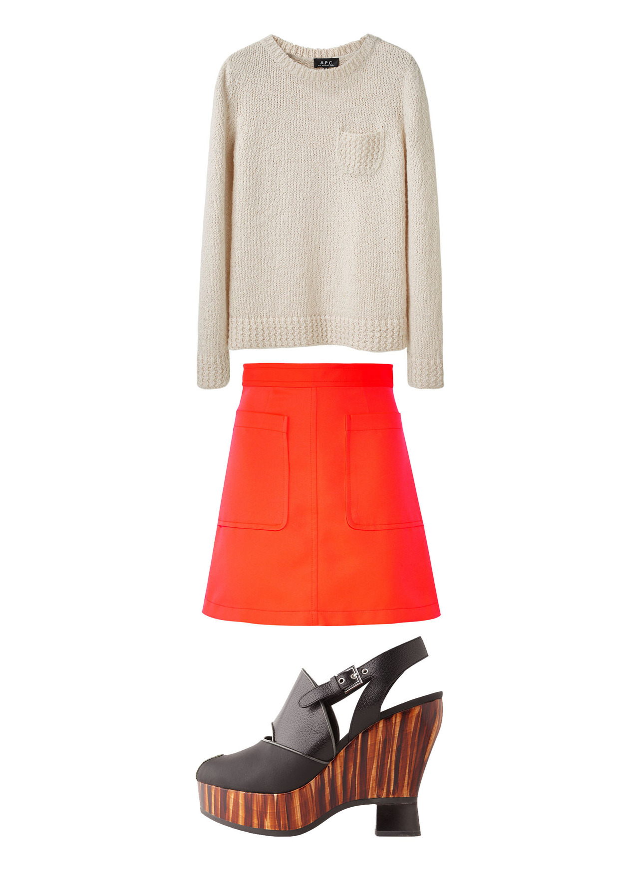 apc sweater, marc by marc jacobs skirt, proenza schouler shoes