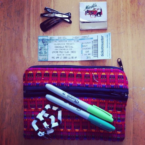 Treasures found inside a forgotten purse #thingsorganizedneatly #coachella (Taken with Instagram)