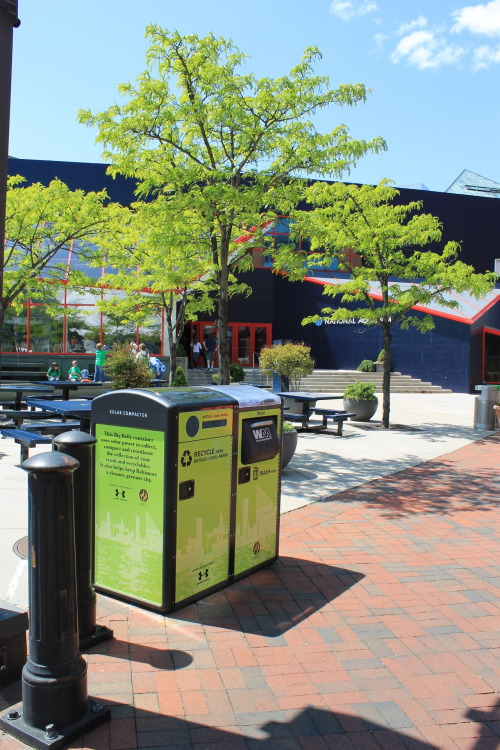 Baltimore City recycling bin and solar powered trash compactor