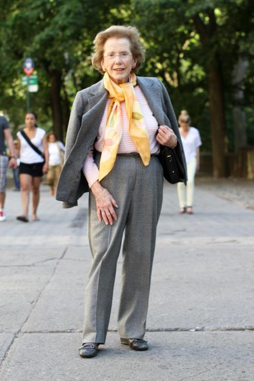 "humansofnewyork:  This elegant woman is Mary Cronson, founder of the Works and Process series at the Guggenheim. I know this because her proud son kept whispering her credentials to me while I set up the shot. ""She's a very important New Yorker,"" he told me."