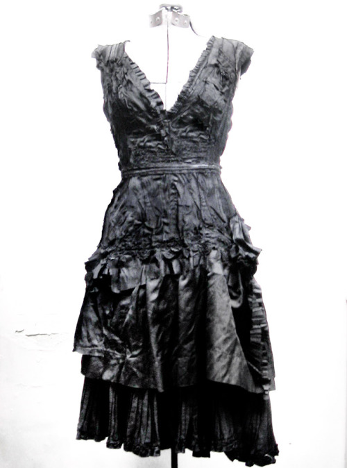 gibbous-fashions:  the lydia dress.. made entirely from victorian mourning skirts. *
