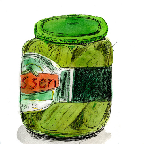 "foodonpaper:  dill pickles  In the beginning, the self-described ""fermentation fetishist"" Sandor Katz loved sour pickles."