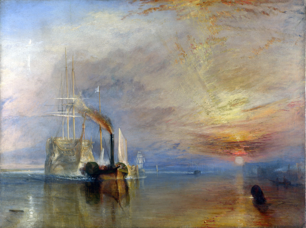 The Fighting Temeraire tugged to her last berth to be broken up (1839), Oil on canvas, National Gallery, London | artwork by Joseph Mallord William Turner