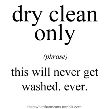 dry clean (phrase) - this will never get washed. ever.