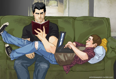 artofobsession:  My favorite scenario in the development of Stiles' and Derek's relationship is when they start to make the burned-out Hale house more liveable. I remember one in particular with a ratty, green couch.