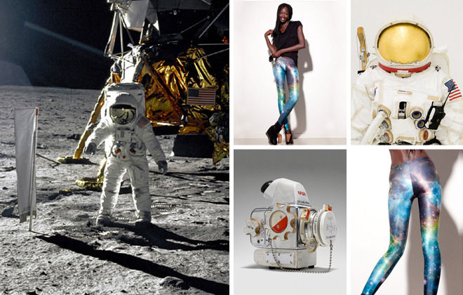 Galaxy Leggings by Jauretsi First it was the moon. Now we're looking at Mars, or perhaps deeper into the cosmos. Simulated journeys of space exploration surround us, from the Museum of Natural History's exhibit Beyond Planet Earth (running through August 12, 2012) to Tom Sach's installation entitled Space Program: Mars. Tom's fictional masterpiece completed its last week at The Armory New York, but if you missed it, there's a few catalogs left on eBay. So how does this affect fashion? [MORE] I've been spotting a few foxy girls diving deeper into space through their leggings. Take a ride into the collective conscious by grabbing some Black Milk galaxy leggings on eBay, at a very reasonable price, some bids starting at $70. Until we space travel ourselves one day, we can at least wear it.     (Photo Credit: NASA and The Armory, New York)