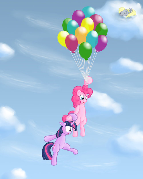 theponyartcollection:  Twilight and Pinkie in the sky by *overlord103