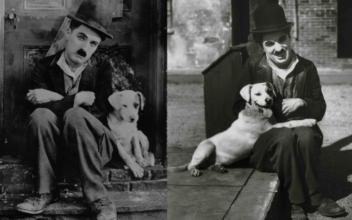 A DOG'S LIFE - 1918 The thing I love about these 2 photos from this film is the contrast which Charlie in his film making really used to great advantage, in the first photo they both look so sad and forlorn, in the second photo Charlie has a big smile on his face and it looks like Scraps is smiling too.