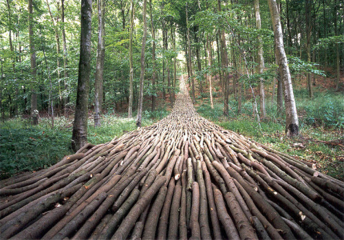 Organic Highway by Mikael Hansen Constructed of 1200 logs and is 60m long.