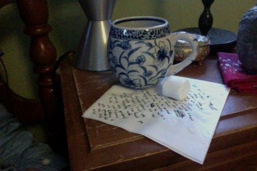 marshmallows & napkin poems.