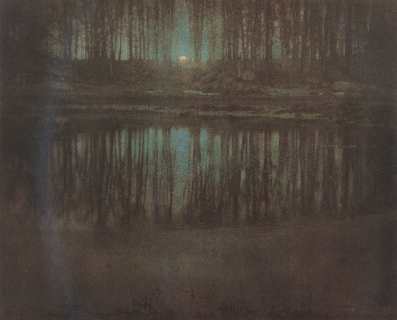 The Pond—Moonlight The Pond—Moonlight is a pictorialist photograph by Edward Steichen. The photograph was made in 1904 in Mamaroneck, New York, near the home of his friend, art critic Charles Caffin. The photograph features a forest across a pond, with part of the moon appearing over the horizon in a gap in the trees. The Pond—Moonlight is an early color photograph, predating the first widespread color photography technique (the 1907 autochrome), and was created by manually applying light-sensitive gums. Only three known versions of the Pond-Moonlight are still in existence and, as a result of the hand-layering of the gums, each is unique. In February 2006, a print of the photograph sold for US $2.9 million, at the time, the highest price ever paid for a photograph at auction.