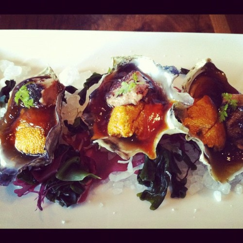 Ate yesterday and we're still thinking about it. #Oyster topped with #uni and #foiegras. #napa #food (Taken with Instagram at Morimoto Napa)