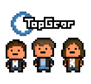 pixelblock:  The blokes from Top Gear, now turned into teeny tiny pixelated sprites !  From left to right: Richard Hammond, Jeremy Clarkson, James May.  Requested by:http://prancingcera.tumblr.com/