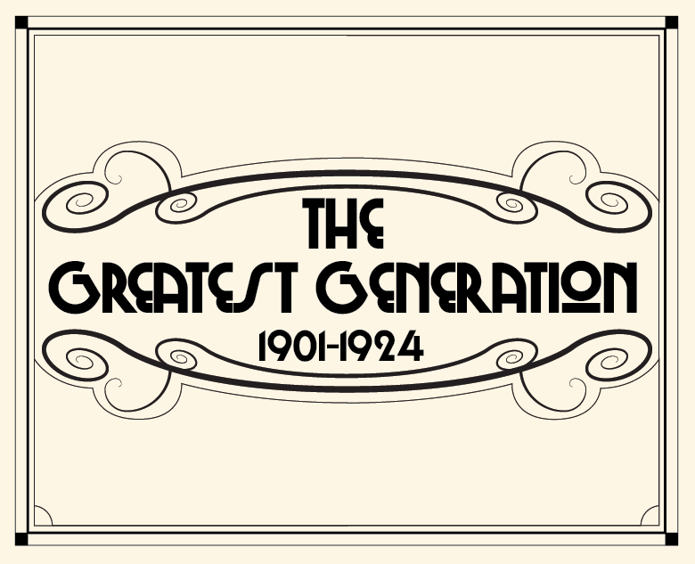 The Greatest Generation  The Greatest Generation, also known as the G.I. Generation, is the generation that includes the veterans who fought in World War II. They were born from around 1901 through 1924, coming of age during the Great Depression. Journalist Tom Brokaw dubbed this the Greatest Generation in a book of the same name.  Generations is a set of images illustrating the eight groups of generations in the Western world. Each image is illustrated in homage to one of the main artistic styles popular during the birth of that generation.