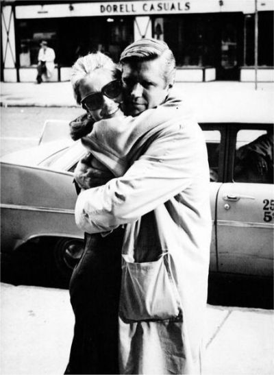 alwaysprettyinblack:  Audrey Hepburn and George Peppard in the set of Breakfast at Tiffany's.