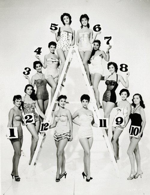 vintagegal:  Vera Francis and a number of other showgirls climbing the proverbial ladder of fame and fortune, 1955