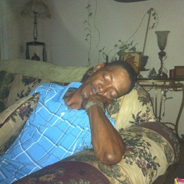 My Uncle Asleep… He thought he was watching the game (Taken with Instagram)