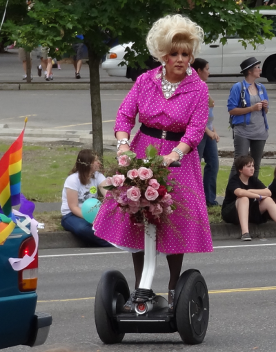 brentpruitt:  Happy Pride Portland!  Here's a drag queen on a segway…