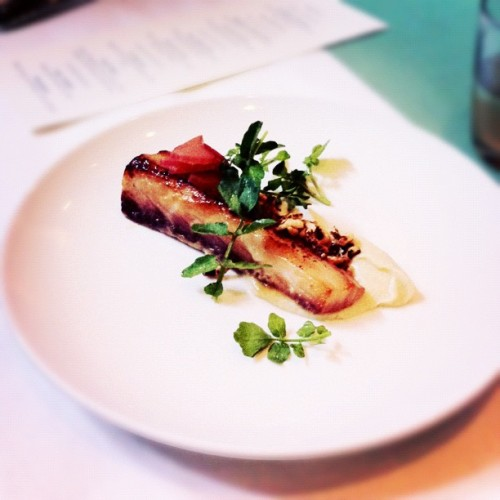 miso grilled cobia over foie gras corn pudding @kanonvodka  (Taken with Instagram)