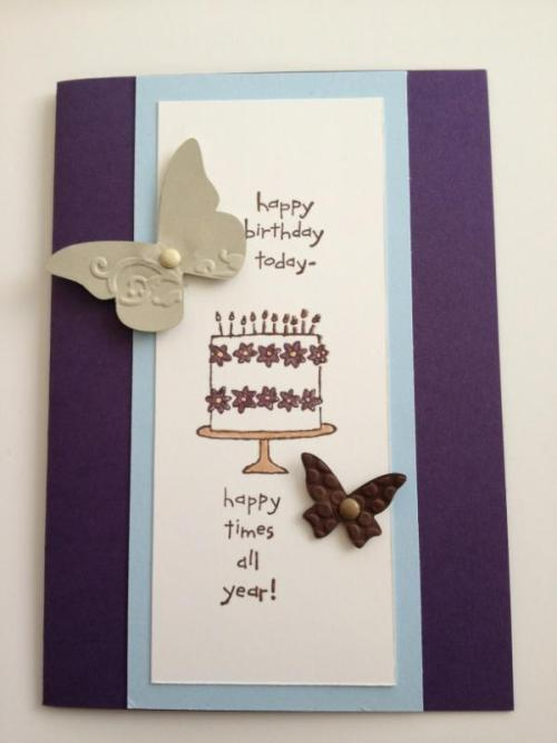 "New Design… Birthday Card…Love the colour combination here. Very simple design but the extra ""it"" factor with the butterflies really makes the difference."