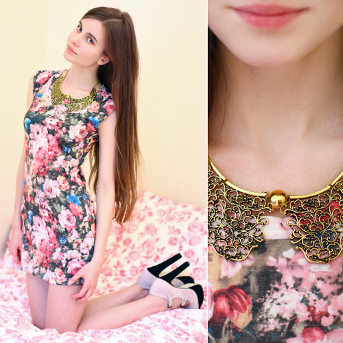 Floral Dress & Detachable Collar Floral splendor (by Ariadna Majewska)