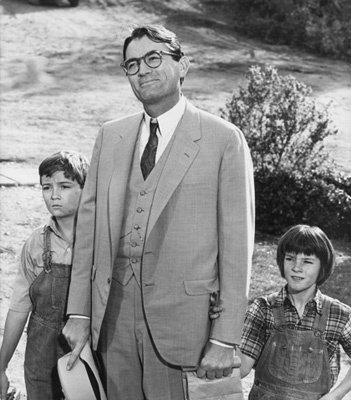 1- Gregory Peck (Atticus Finch) / To kill a mockinbird. Atticus Finch: I remember when my daddy gave me that gun. He told me that I should never point it at anything in the house; and that he'd rather I'd shoot at tin cans in the backyard. But he said that sooner or later he supposed the temptation to go after birds would be too much, and that I could shoot all the blue jays I wanted - if I could hit 'em; but to remember it was a sin to kill a mockingbird. Jem: Why? Atticus Finch: Well, I reckon because mockingbirds don't do anything but make music for us to enjoy. They don't eat people's gardens, don't nest in the corncrib, they don't do one thing but just sing their hearts out for us.