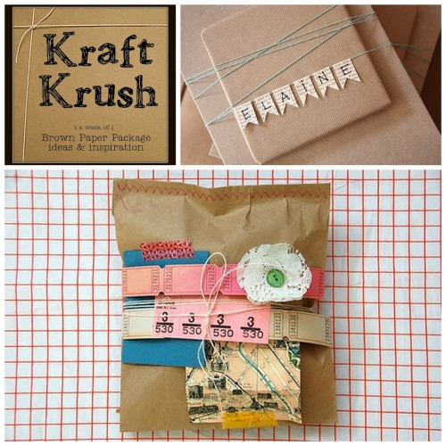 Roundup Fifty Ideas for Tag and Embellishments Wrapped up in Kraft Paper from Older and Wisor here. Photo Upper Right: Daisys & Dots here, Photo Bottom: Cakies here.