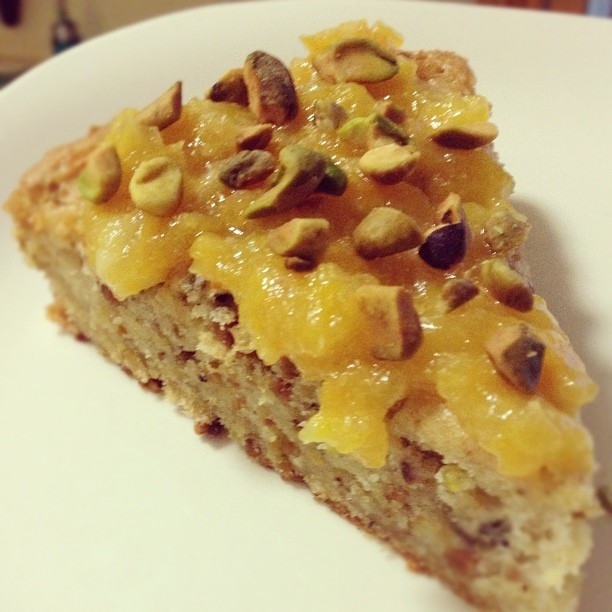 Vegan, gluten-free pistachio olive oil cake. (Taken with Instagram)