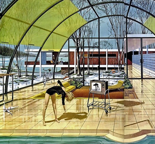 midcenturymiskatonic:  House of the Future, Motorola Advertisement, 1961 Illustrated by Charles Schridde