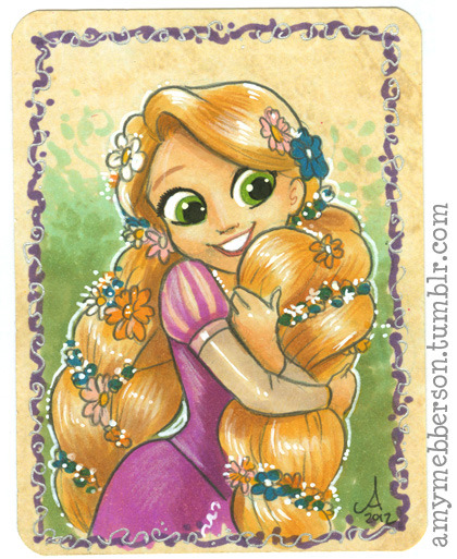 "amymebberson:  Rapunzel - 3x4"" sketch card. Copics, coloured pencil"