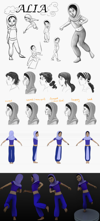 "Character model sheet, evolving from 2D to 3D realization, of my character ""Alia"", whom I created for my short film. We sort of see the evolution and tryouts my character had to face :P"