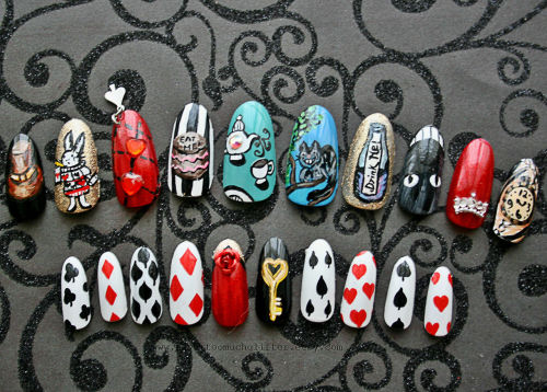 Handpainted Alice in Wonderland Nail art.