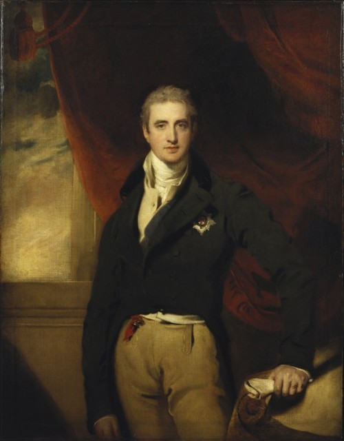 "fuckyeahhistorycrushes:  Could we get a Birthday Post for Lord Castlereagh? Robert Stewart, Viscount Castlereagh (18th June 1769 - 12th August 1822) Lord Castlereagh was an Anglo-Irish politician who as War Secretary and Foreign Secretary, steered England through the Napoleonic Wars, the Congress of Vienna and the Concert of Europe. His vision of a united Europe helped prevent a large scale war until WWI almost a hundred years later. He was also responsible for the Act of Union in 1801, accomplished when he was just 30 years old. In addition to being accomplished, he was a Regency gallant, handsome and had an ""intense, rather melancholy stare"", a great favourite among the ladies. Coincidentally, his birthday is on the same day the Americans declared war on England in 1812, starting what became known as the War of 1812. Castlereagh was Foreign Secretary at the time, so he probably didn't appreciate much the American's choice of dates. In 1822, Castlereagh committed suicide by slitting his own throat with a penknife. He is buried in Westminster Abbey near his mentor, Pitt the Younger. For shaping the history of Europe and leading England through one of the most devastating wars since the 30 Years War, I think he deserves a birthday post. Happy Birthday Castlereagh!"