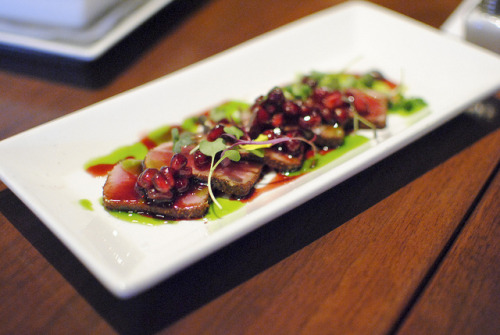 f-word:  seared ahi tuna with pomegranate seeds, basil oil & microgreens photo by Darin Dines