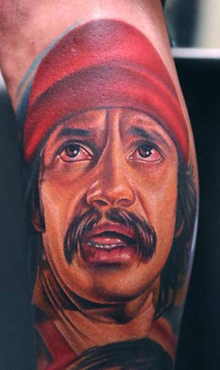 Nikko Hurtado's incredible tattooed rendition of Cheech!!  Hurtado is a tattoo artist who specializes in colored portraiture and  has been tattooing since 2002. He owns and works at Black Anchor Collective in Hesperia, California. He has appeared as a guest on LA Ink and Tattoo Wars and also released a DVD called Tattooing Portraits with Nikko Hurtado.