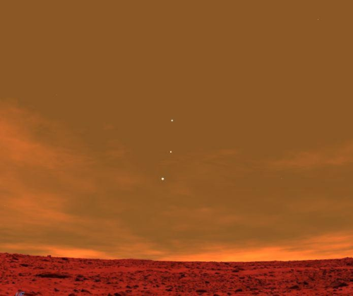 theresafoxinmyteacup:  seashelllz:  mcgarrsworld:  Earth, Jupiter and Venus from the skyline of Mars!  incredible.  my heart feels like it's going to explode. oh my god, this is absolutely incredible.